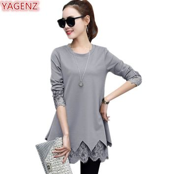 YAGENZ Best Friends T shirt Lace Women Long sleeve Tops bottoming shirt Spring Autumn Clothes Basic T shirt Women Splice Lace893