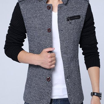 Gray Zipper and Epaulet Design Stand Collar Jacket