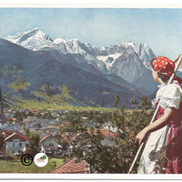 German Girl in foreground overlooking Town Scene in Valley Alps in Bacground Vintage Postcard Moutain Scene Larger 4 x 6