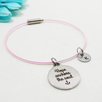 Hope Anchors The Soul Bracelet - Hope Charm Bangle - Initial Charm - Charm Bracelet - Initial Bracelet - Personalize Gift - Custom Bracelet