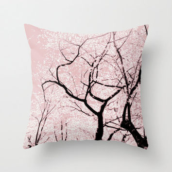 Pillow Cover, Cherry Blossom Tree Pillow, Pink Pillow, Nature Throw Pillow, Tree Photo Pillow, Living Room Decor, Bedding 16x16 18x18 20x20