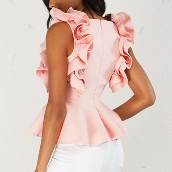 Sleeveless Ruffle Top in Blush
