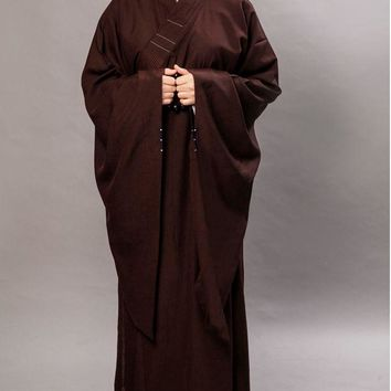 UNISEX top quality brown buddhist abbot monks robe shaolin temple martial arts haircords haiqing clothing lay meditation uniform