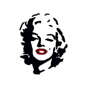 Marylin embroidery design. 4x4 hoop. Marylin Monroe embroidery. Marylin Monroe Face Silhouette embroidery design. Celebrity embroidery.