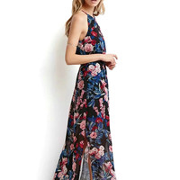 Chiffon Maxi Dress In Floral Print With Halter Neck