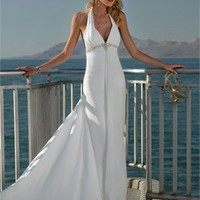 Sexy Deep V- neck With Halter Beaded Waist Belt Chiffon Cathedral Train Beach Wedding Dress WD0061