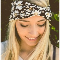 Black Floral Twist Headband