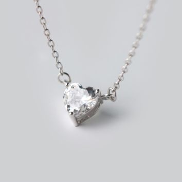 Simple zircon heart shape 925 sterling silver necklace, a perfect gift