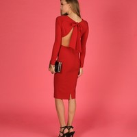 Promo-red Leading Lady Midi Dress
