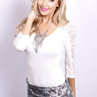 Chaille 3/4 Lace Sleeve Top: White