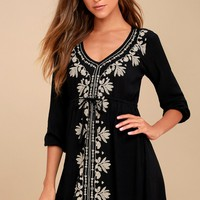 Mina Black Embroidered Dress