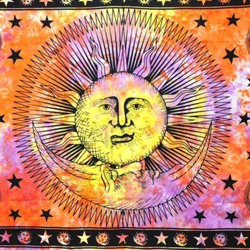 Indian Dorm Sun Hippie Hippy Tapestry Wall Hanging Throw Tie Dye Hippie Hippy Boho Bohemian Tye Die Hand-Loomed Window Doorway Door Curtain