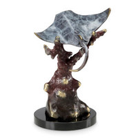 SPI Home Whiptail Manta Ray Brass Marble Sculpture Coastal Stingray Statue