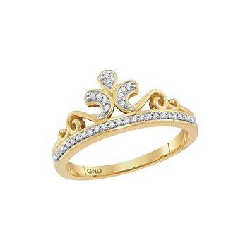 10kt Yellow Gold Women's Round Diamond Crown Tiara Band Ring 1/10 Cttw - FREE Shipping (US/CAN)