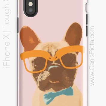 Hipster French Bulldog iPhone CASE Samsung Galaxy iPod Touch Protective Protect Protection Nerd Pink Frenchie Orange Teal Bowtie Glasses Hip