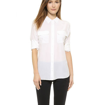 White Lapel Collar Long Sleeve Blouse With Pockets