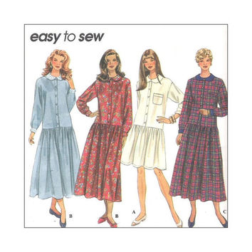 Uncut Sewing Pattern Misses Dress Dropped Waist Size 12 14 16 Simplicity 9200 Easy to Sew