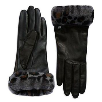 DCCK8X2 Ugg Australia Fur Cuff Leather Gloves