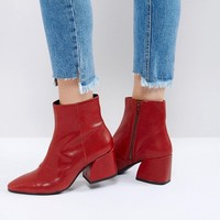 Vagabond Olivia Cherry Red Leather Ankle Boots at asos.com