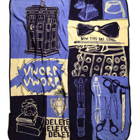 Doctor Who Sketches Throw Blanket