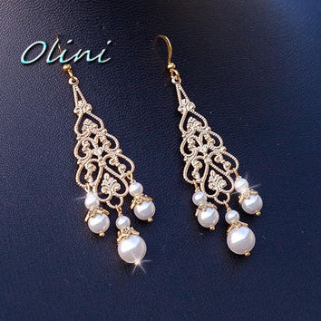 Wedding jewelry, Bridal gold chandelier Earrings with Swarovski Pearls - Pick your Pearl Color