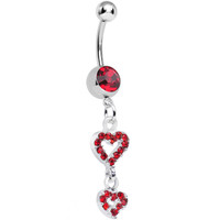 Red Gem Duo of Hollow Hearts Dangle Belly Ring | Body Candy Body Jewelry