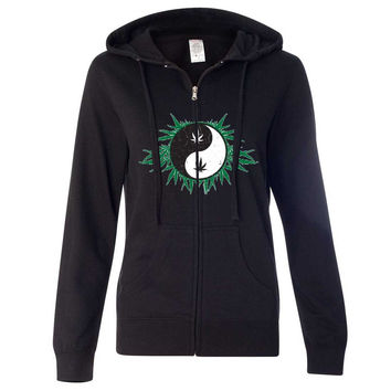 Pot Leaf Yin Yang Ladies Zip-Up Hoodie