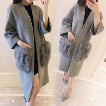 fashion cashmere brand autumn grey jacket  woman vintage 2016 winter black long wool coat designer with fox fur pocket luxury