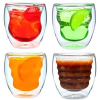 Curva Artisan Series Double Wall Beverage Glasses and Tumblers - Unique 8 oz Thermo Insulated Drinking Glasses, Set of 4:Amazon:Kitchen & Dining