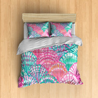 Sea Shell Bedding- Sea Shells, Colorful Sea Shell Bed, Lilly Pulitzer Inspired Bedding, Ocean Bedding, Colorful Bedding, Cute Bedding