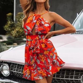 Sexy Red Halter Chiffon Dresses Women Boho Floral Hollow Out Beach Sundress Elegant Backless Mini Wrap Dress