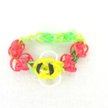 Bumble Bee Bracelet Made out of Rainbow Loom Handmade Rubber Bands Birthday Favors