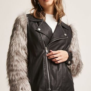 Goldie London Faux Fur Moto Jacket