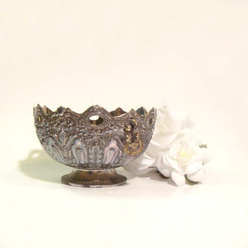 Ornate Silver EP Zinc Bowl Vintage Japan with Handles