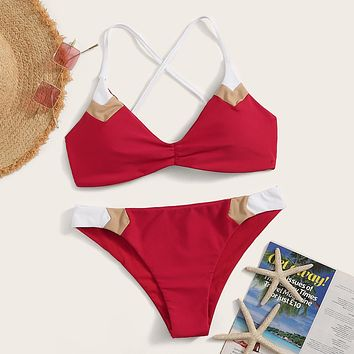 Lace-up Back Top With Color-block Bikini