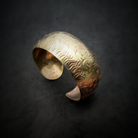 Gold Tone Cuff, Egyptian Cuff Bracelet,  Open Gold Cuff, Punched Texture Cuff, Artisan Jewellery, Shiny Metal Cuff