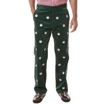 Beachcomber Corduroy Pants in Hunter Green with Embroidered Saint Nick by Castaway Clothing - FINAL SALE