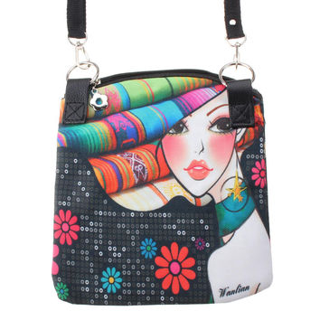 Vintage Canvas Printed Small Satchel