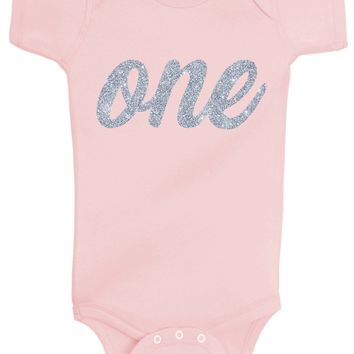 Baby Girl 1st Birthday Bodysuits - One Silver Glitter Flake Outfits