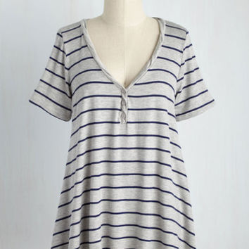Cinema and Heard Top in Light Grey Stripes | Mod Retro Vintage Short Sleeve Shirts | ModCloth.com
