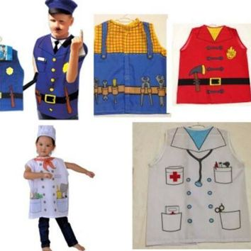 PEAPON 2016 Hot cosplay clothes performing the role professional chef clothing chirldren Police costume Fire clothing Doctor clothes