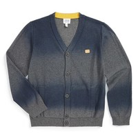 Boy's Armani Junior Ombre Cotton & Wool Cardigan,