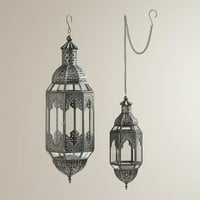 Antiqued Zinc Latika Hanging Lanterns - World Market