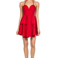 Layered Cake Crepe Dress - Red - FINAL SALE