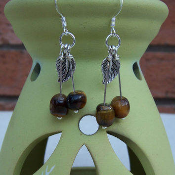 Tiger's Eye  Dangle Earrings with Silver Tone Leaf, Gemstone Earrings, Brown Earrings, UK Seller