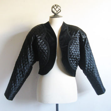Vintage 1980s Velvet Bolero Black Quilted Velvet Crop Evening Blazer 12US
