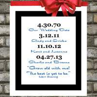 Important Dates Print. ANY. Special Dates. Art. Print. Quotes. Housewarming Bridal Shower Unique Holiday Christmas Gifts Present