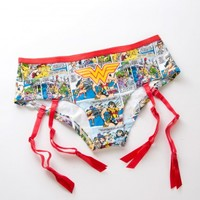 Wonder Woman Hipster Brief Panty with Red Garters