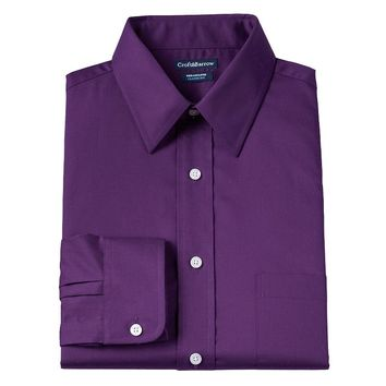 Croft & Barrow Fitted Solid Broadcloth Wrinkle-Resistant Point-Collar Dress Shirt - Men, Size: