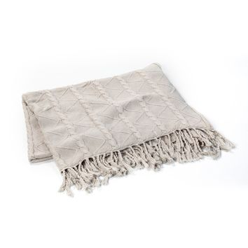 HARBOR GREY CABLE AND TWIST KNIT THROW